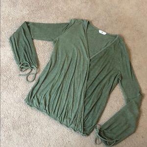 long sleeve wrap blouse